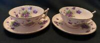 VIntage LENEIGE Porcelain Cup & Saucer Setts PInk w/ VIolets Gold Trim Set of 2