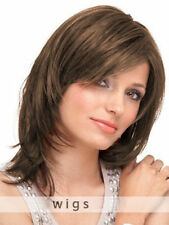 100% Real Hair! New Light Brown Medium Natural Straight Wig Human Hair