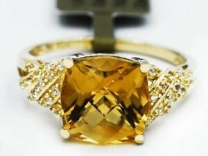 GENUINE 3.18 Cts YELLOW TOPAZ & WHITE SAPPHIRES RING 10K GOLD * Free Certificate