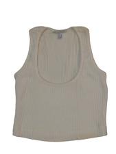 BYBLOS Tank Top Débardeur Court Coton Stretch Blanc Casual de Luxe Milanaise