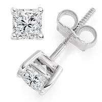 4.2ct Princess Cut Stud Solitaire Earrings Gift Solid 14k White Gold Screw Back