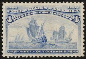 US Sc# 233 *MINT OG H* { -XF- FLEET OF COLUMBUS } BEAUTY 4c COLUMBIAN FROM 1893