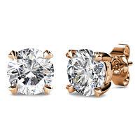 Solitaire Stud Earrings Created with Swarovski® Crystals 18K RGP-Krystal Couture
