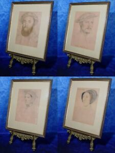 After HANS HOLBEIN - 4 VINTAGE PORTRAITS Tudor Court members. Lithographic Print