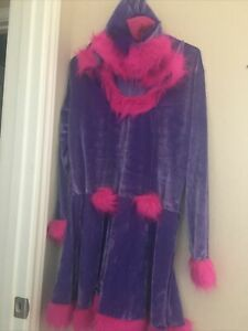 Cheshire Cat Adult Costume Alice In Wonderland Purple Hooded Dress Size Large