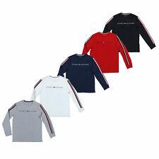 Tommy Hilfiger Para Hombre Camiseta Cuello Redondo Mangas Largas Camisa a Rayas Flag Logo Nuevo TH