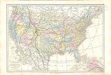 États-Unis United States US Canada Mexique Mexico Politique MAP CARTE ATLAS 1874