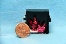 Dollhouse Miniature Chrynsbon Rooster & Hen Dish Set in Pink ~ CB152P