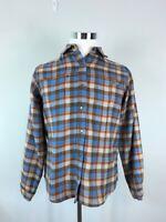 Woolrich Womens Bluebell Button Down Shirt Blue Plaid Pockets Snap Buttons Top M