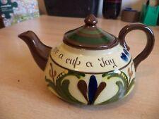OLD VINTAGE LONGPARK TORQUAY STUDIO ART MOTTO POTTERY WARE LARGE TEAPOT TEA POT