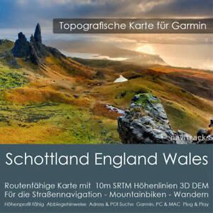 Schottland England Wales Topo Karte 10m Höhenlinien 4GB Garmin Navi, PC & MAC