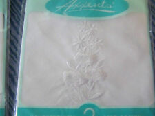 Vintage style ladies handkerchiefs  2 pcs. white on white embroidered hankies