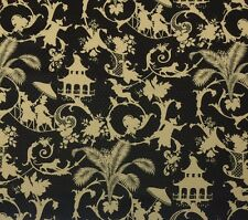 WAVERLY PALM PALACE ONYX O4008 ASIAN CHINOSERIE OUTDOOR INDOOR FABRIC BY YARD