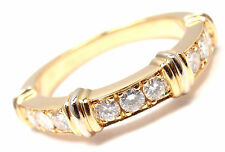 AUTHENTIC! CARTIER 18K YELLOW GOLD DIAMOND BAND RING, SIZE 48 US 5