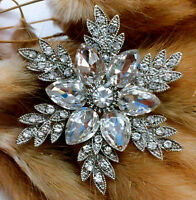 HIGH END Elegant Star SNOWFLAKE Flower AMAZING 3D Retro Vintage CHRISTMAS Brooch
