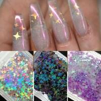 8 Bag Nail Glitter Sequins Holographic Star Flakes Paillette Nail Art Decors UK
