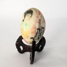 Vintage Decorative White Stone Egg w/ Colourful Oriental Design - Includes Stand
