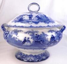 Royal Doulton Watteau Flow Blue Soup Tureen Antique Magnificent A Rare Beauty