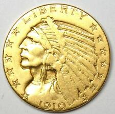 1910-D Indian Gold Half Eagle $5 Coin - VF Details - Rare Coin!