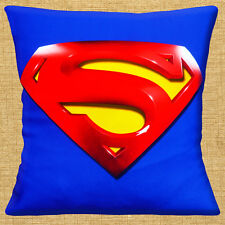 "NEW 3D PRINTED SUPERMAN HERO LOGO ROYAL BLUE RED YELLOW 16"" Pillow Cushion Cover"