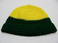 YELLOW & GREEN L/XL SIZE HAND KNIT STOCKING CAP BEANIE HAT! OREGON DUCKS COLORS!