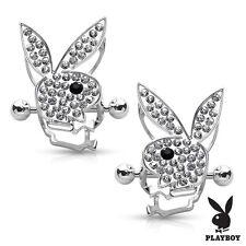 Nipple Bar Playboy Bunny Centered CZ Paved Circle Shield Pair