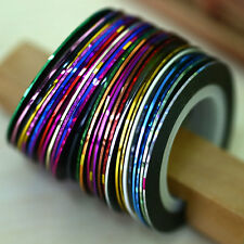 Fashion 30Pcs Mixed Colors Rolls DIY Nail Art Striping Tape Line Tips Sticker*
