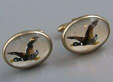 Mallard Duck Costume Jewelry O92 Mens Vintage Cufflinks Reverse Glass
