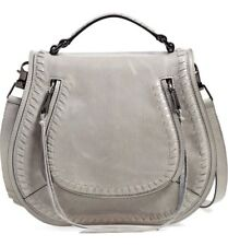 Rebecca Minkoff Grey Vanity Large Saddle Bag Handbag Purse Crossbody
