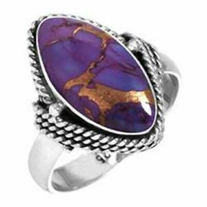 Purple Copper Turquoise Ring 925 Sterling Silver Ring Boho Ring All Size MD-414