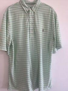 Ralph Lauren Polo Spring Green White Stripe Knit Oxford Collar Shirt XL Tall