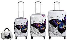Reise Koffer Reisekoffer Set Hartschale Trolley Beautycase PM Schmetterling