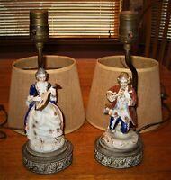 Set of Antique 1930s bedroom table lamps. Porcelain colonial figures