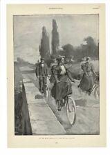 "VINTAGE 1896 LADIES ON BICYCLES ""ON THE ROAD"" ARTIST YOHN AD PRINT #B827"