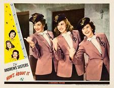 THE ANDREWS SISTERS * great close-up * HOW'S ABOUT IT * 11x14 LC print * 1943