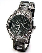Gents Ladies Unisex Black Pltd Rapper Ice Gem Pimp Bling Baguette Crystals Watch