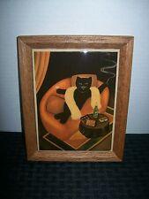 Vintage Framed Tile Art Bourgeois Feline 1920-30's Theme Champagne & Chocolates