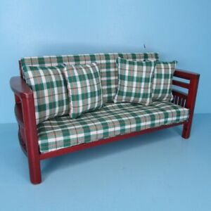 Dollhouse Miniature Wood Mission Couch in Green Plaid with Pillows T3695