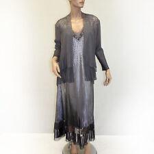 NEW NWOT Komarov Woman Nordstrom Plus Size Pleated Beaded Gray Dress 2 pc Set 1X