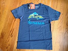 Simms TroutScape Fly  Fishing T Shirt Men's Medium Navy Heather NEW