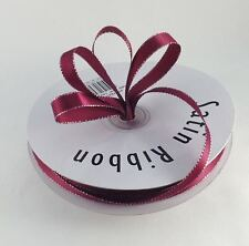 """1/4"""" & 3/8"""" X 50 Yards Double Face Satin Ribbon with Metallic Silver Edge"""