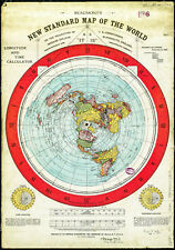 Flat Earth ✅ Gleason's map 1892 A3 As It Is on PRINTED on SPECIAL CANVAS ✅
