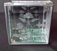 Vintage Leaded Glass Display Trinket Box Etched Flowers Mirrored Bottom