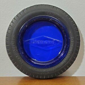 Vintage DIAMOND Rubber Balloon Tires Cobalt Blue Glass Ashtray Salesman Sample