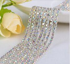 Honbay 10 Yard Crystal Rhinestone Close Chain Trim Sewing Craft 2.5mm Silver ...