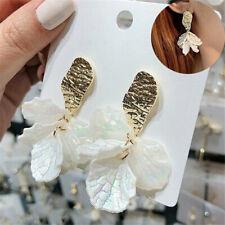 Boho Large White Flower Shell Earrings Women Fashion Statement Dangle Jewelry