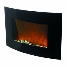 Hyundai Wall Mounted Electric Fire Black Curved Glass Heater Flame Effect Remote