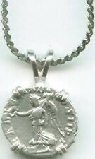AD195 Silver Roman Coin Emperor S. Severus Goddess of Victory Nike Wreath Trophy