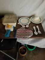 Vintage 1987 Fisher Price Fun With Food Skillet with Lid & Accessories