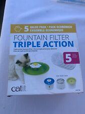 4pk Catit Senses Triple Action Flower Fountain Softening Filters  43746